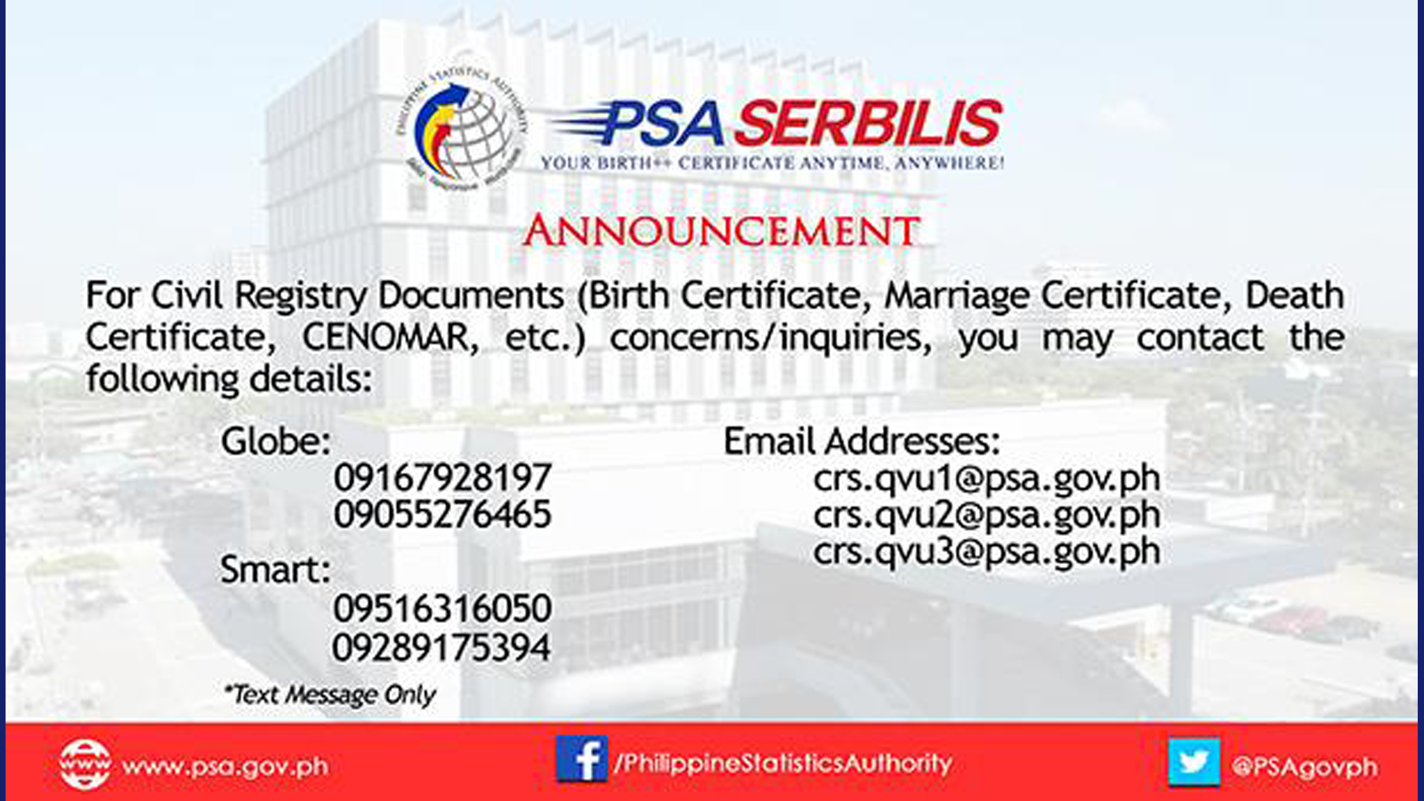 PSA Serbilis Announcement