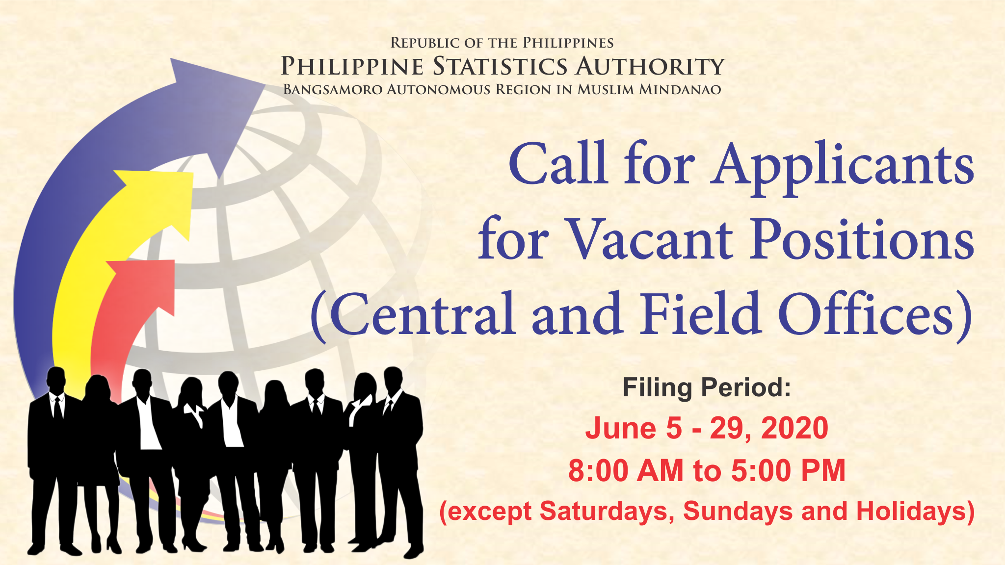 Call for Applicants for Vacant Positions (Central and Field Offices)