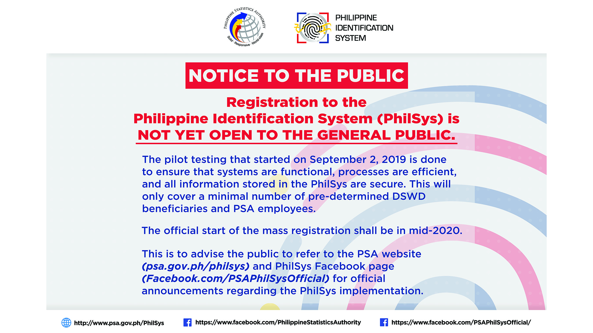 PhilSys Notice to the Public